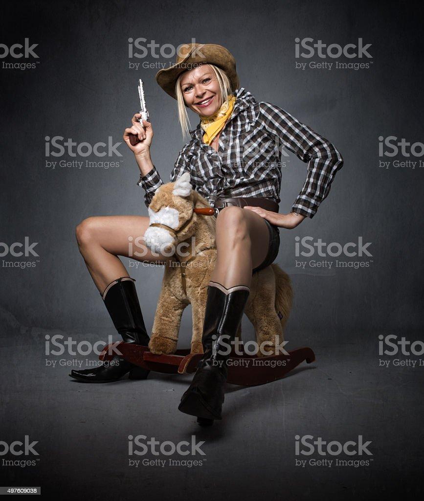 cow boy funny portrait stock photo