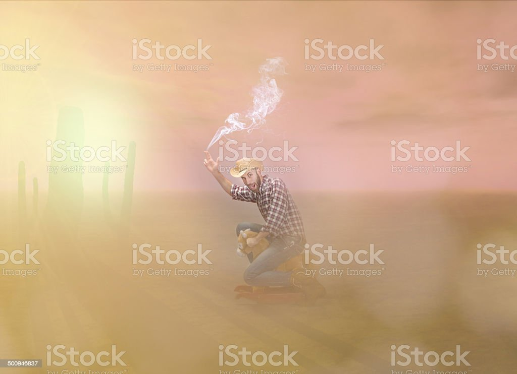 cow boy in a cartoons abstract western world stock photo