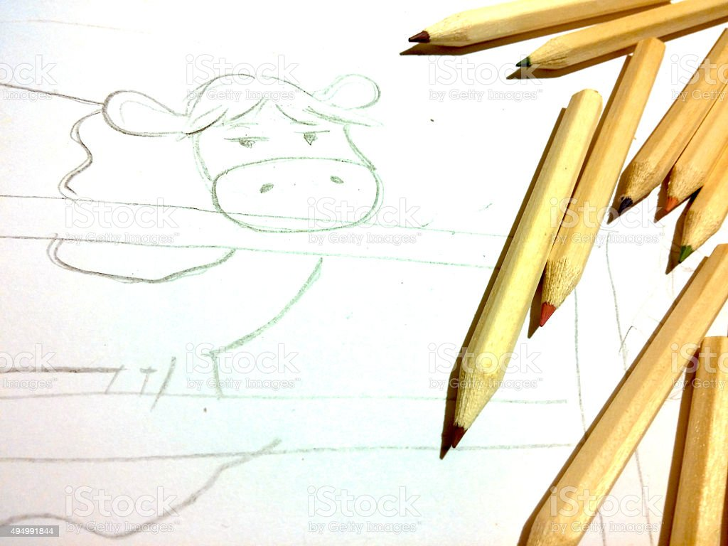 Cow drawing royalty-free stock photo