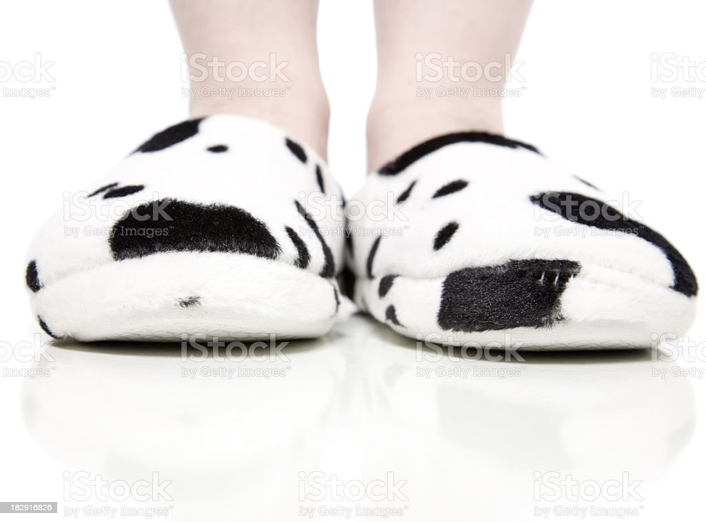 Cow Print Slippers royalty-free stock photo