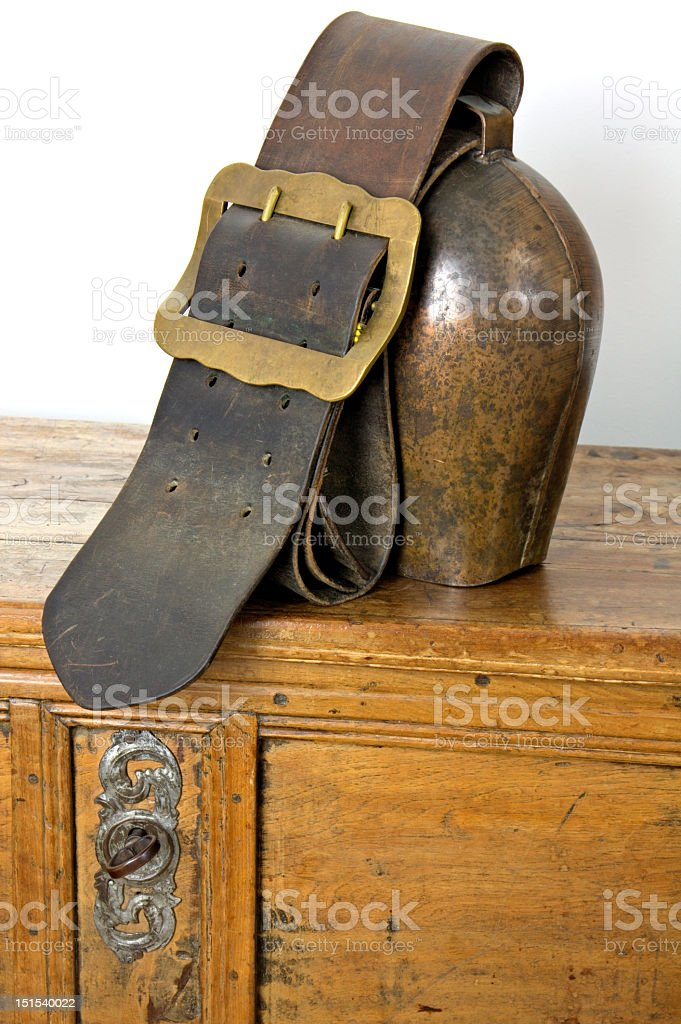 Cowbell on Antique Chest royalty-free stock photo