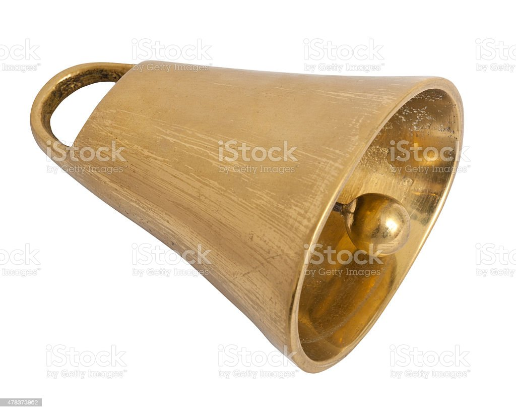cowbell on white background stock photo