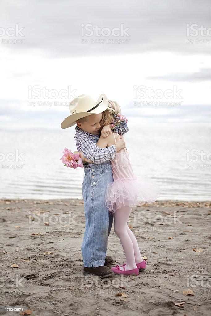 Cowboy and Ballerina Children on Beach royalty-free stock photo