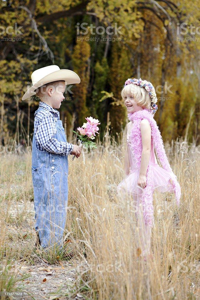 Cowboy and Ballerina Children royalty-free stock photo