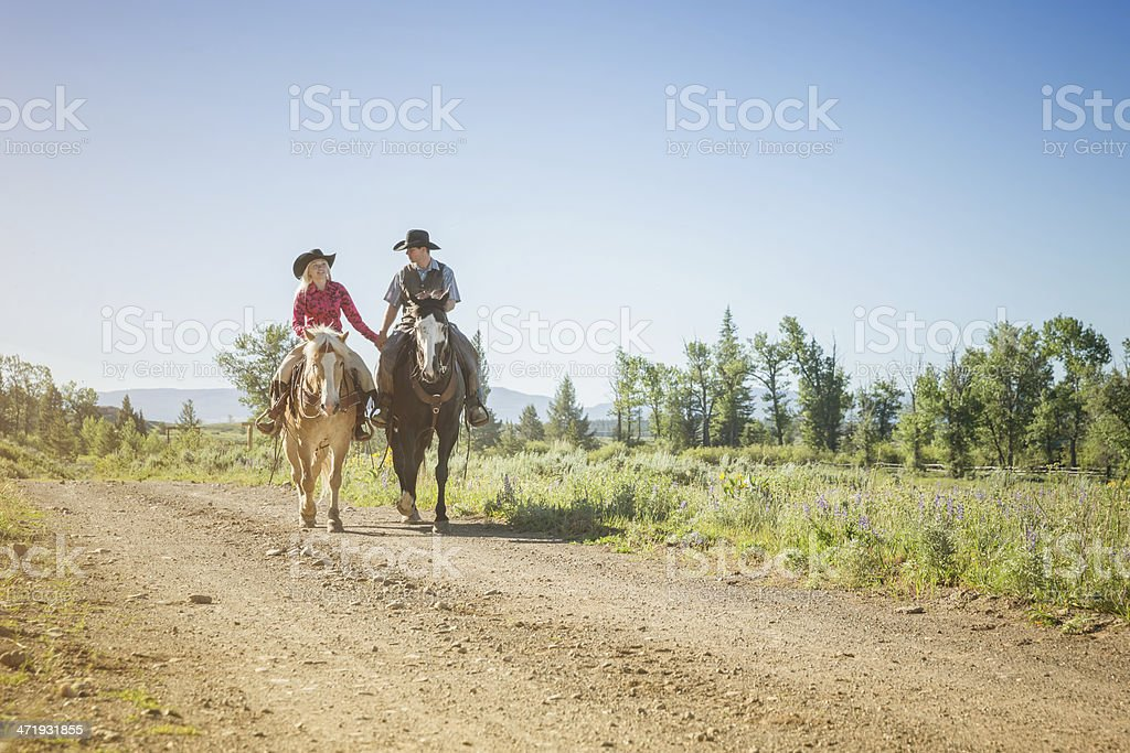Cowboy and Cowgirl, Wild West Couple royalty-free stock photo