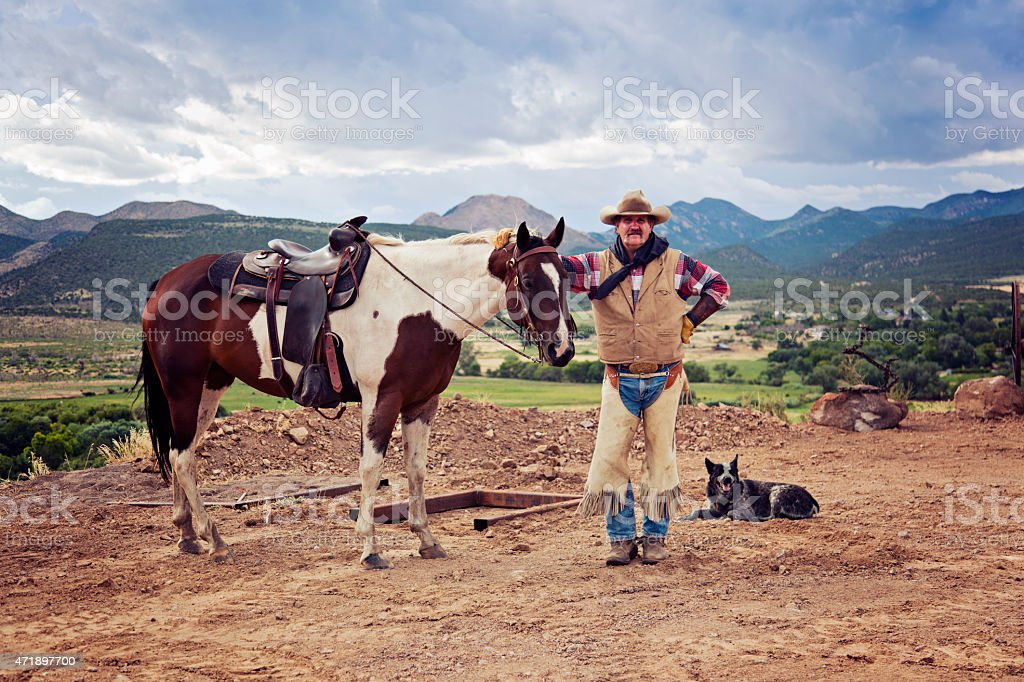Cowboy and his friends stock photo