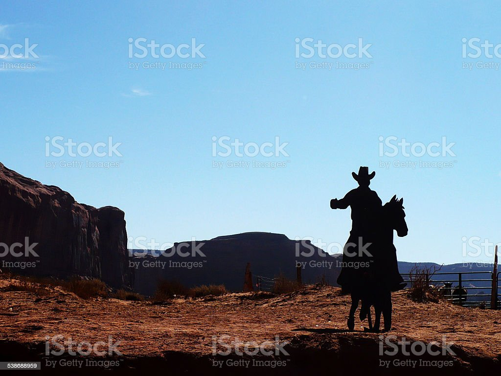 Cowboy and Horse Board in Arizona stock photo