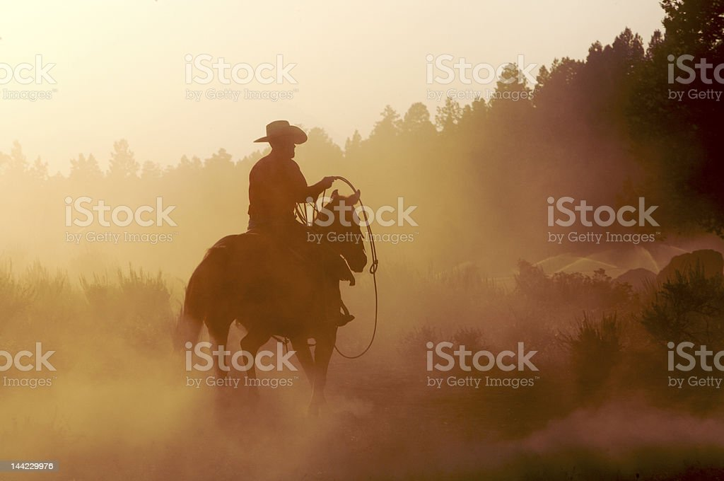 Cowboy at Dusk stock photo