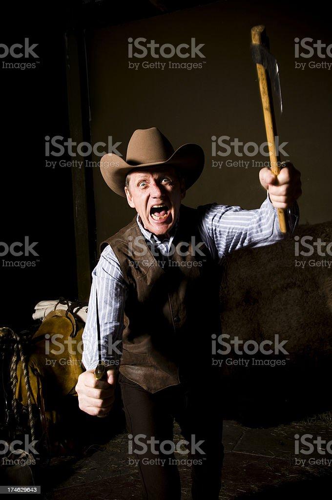 cowboy attack stock photo