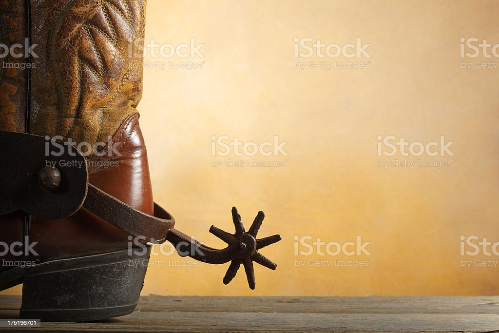 Cowboy Boot and Spur royalty-free stock photo