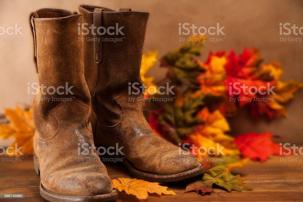 Cowboy boots among autumn leaves on wooden table. stock photo