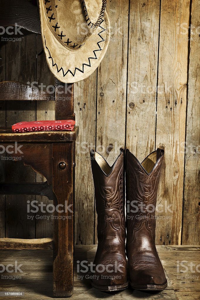 cowboy boots and hat royalty-free stock photo