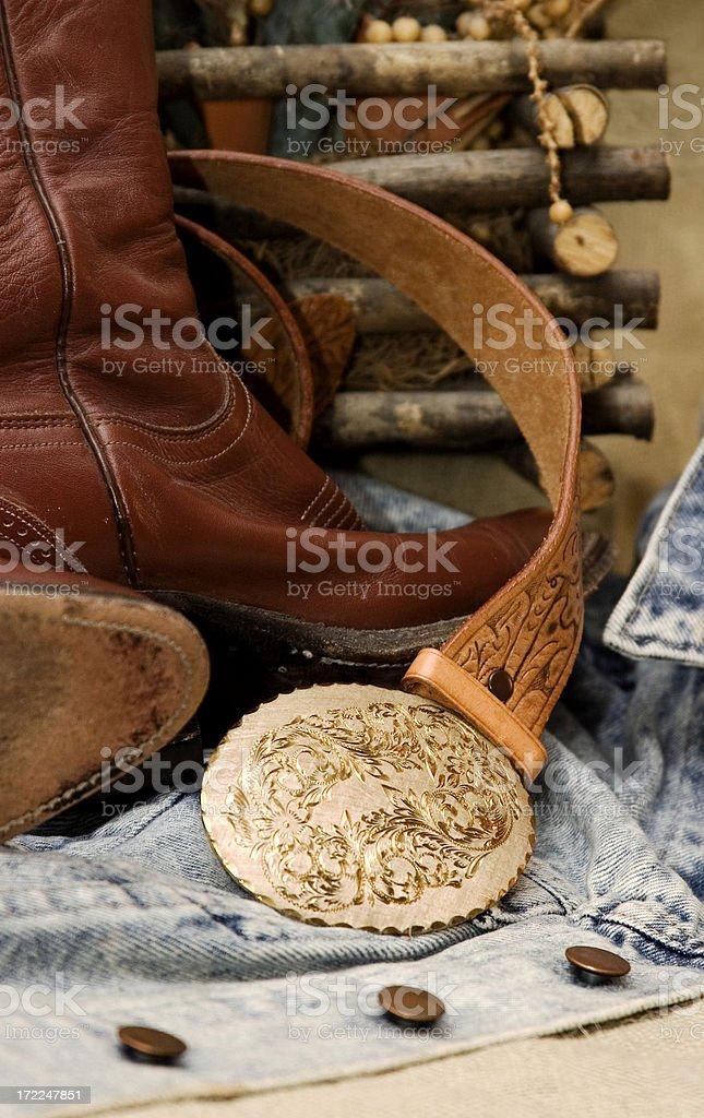 Cowboy Boots & Belt royalty-free stock photo