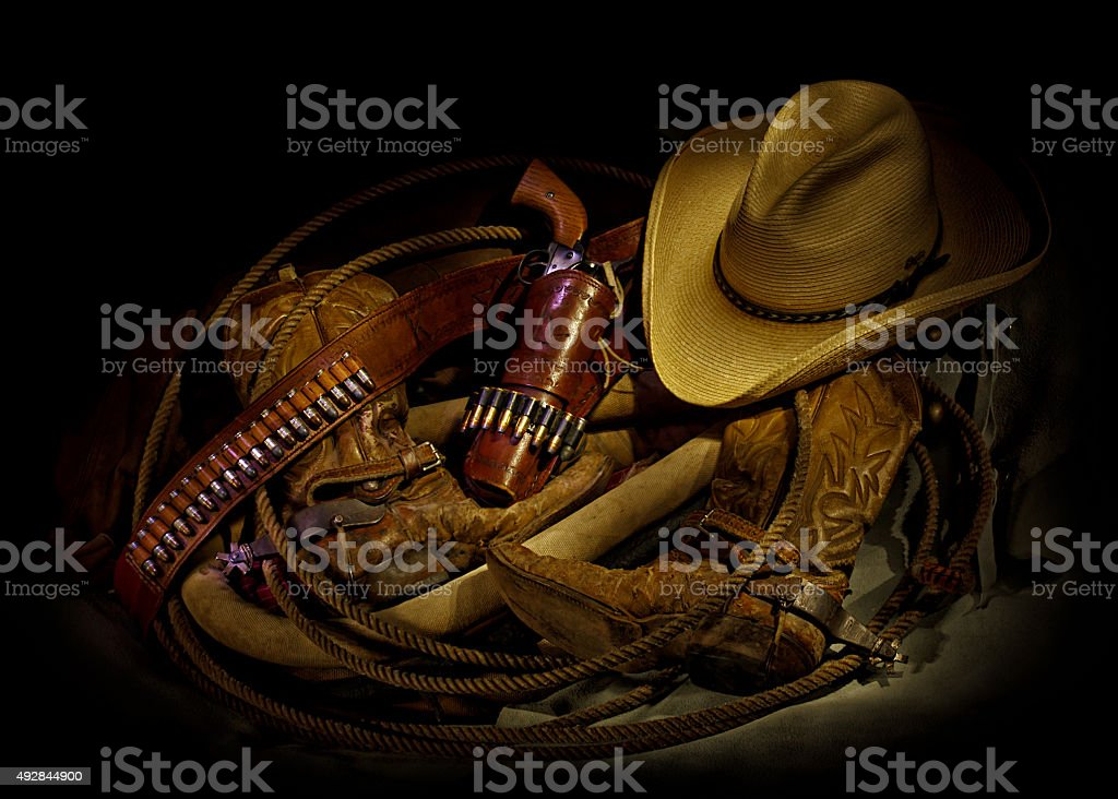 Cowboy Boots, Hat, and Gear stock photo