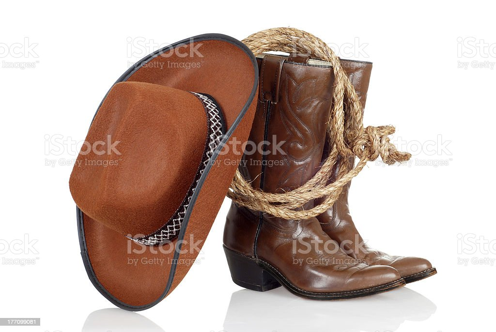 cowboy boots hat and lasso stock photo