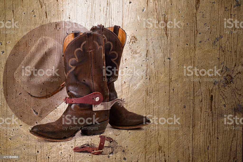 Cowboy Boots, Hat and Spurs royalty-free stock photo