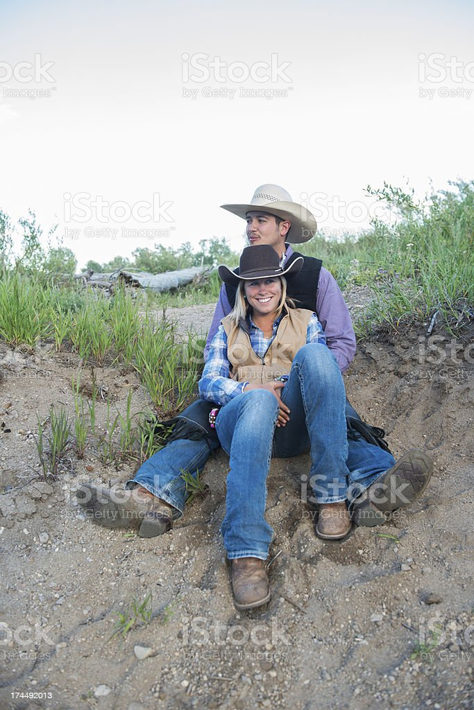 Cowboy Couple in Love stock photo