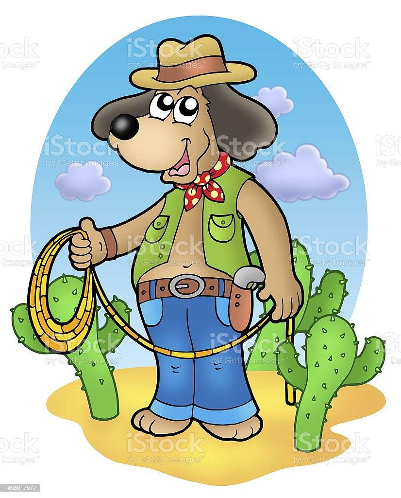 Cowboy dog with lasso in desert stock photo
