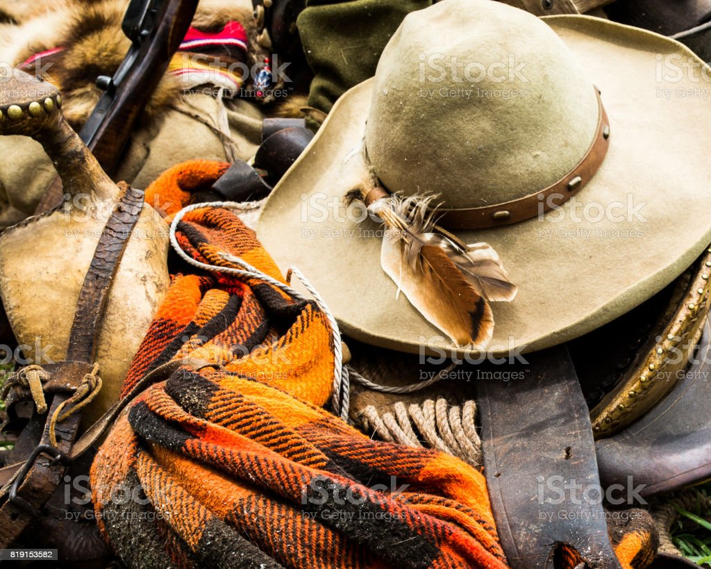 Cowboy Hat and Gear stock photo