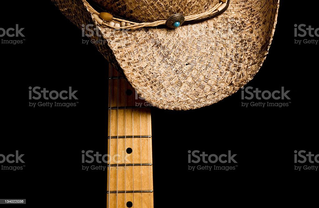 Cowboy Hat and Guitar royalty-free stock photo