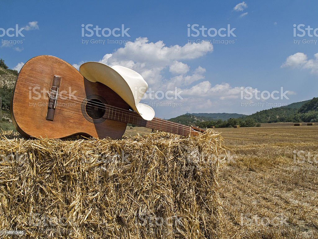 Cowboy hat, boots and guitar stock photo
