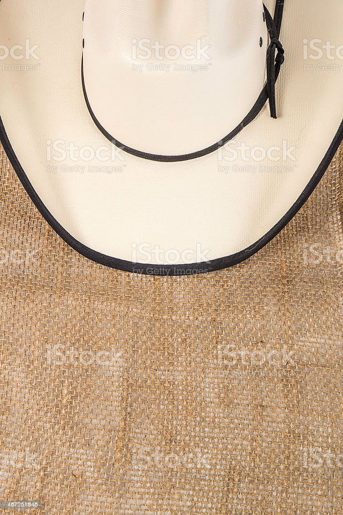Cowboy Hat on Burlap stock photo