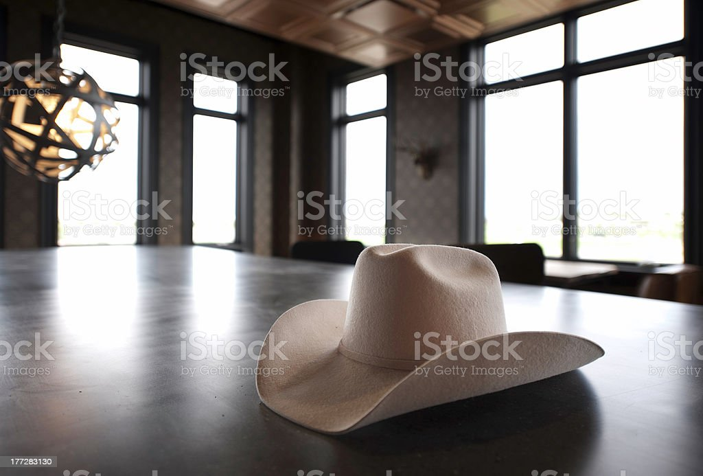 Cowboy Hat on the Bar stock photo