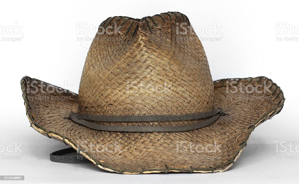 Cowboy Hat - Straw Front View stock photo