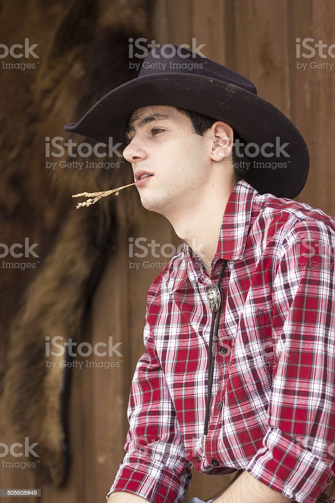 Cowboy having rest stock photo