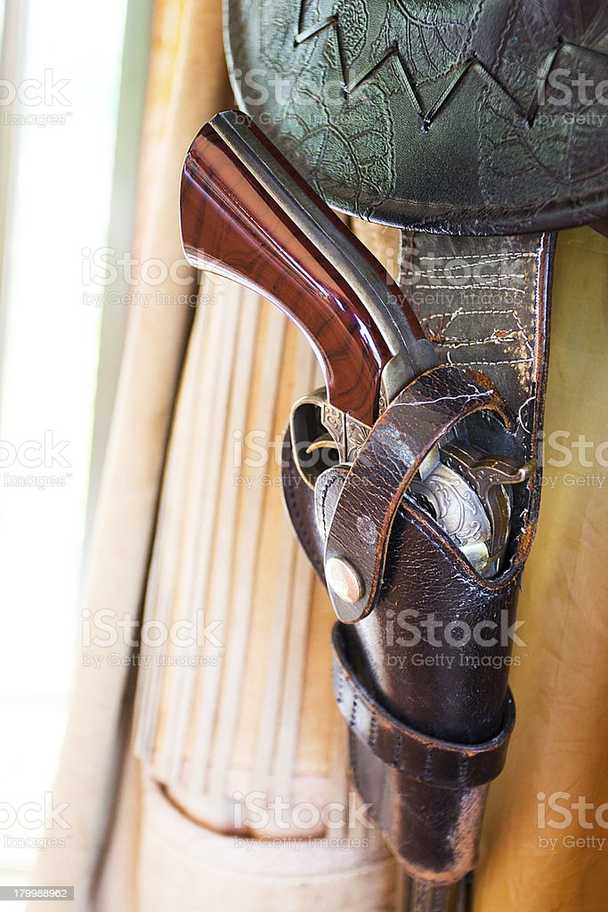 Cowboy holster with gun and bullets royalty-free stock photo
