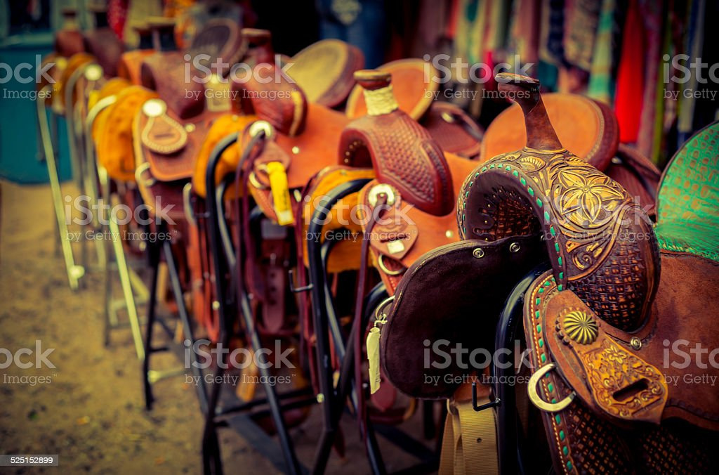 Cowboy Horse Saddles for Sale stock photo