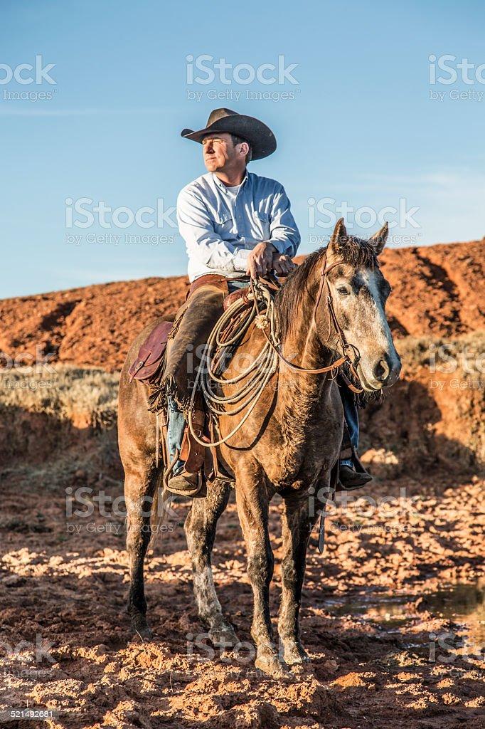 Cowboy Horseback at Watering Hole stock photo
