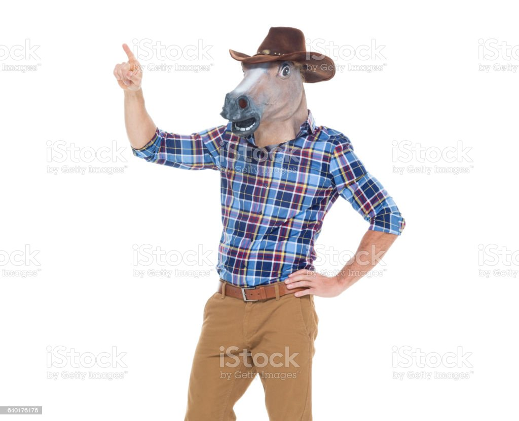 Cowboy in horse costume and pointing stock photo