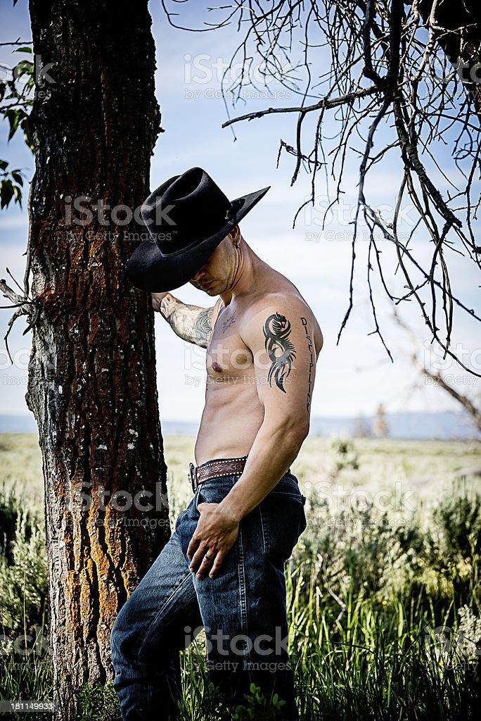 Cowboy Looking Down royalty-free stock photo