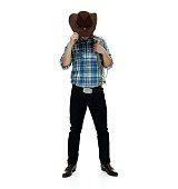 Cowboy looking down
