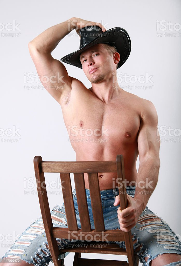Cowboy on chair royalty-free stock photo