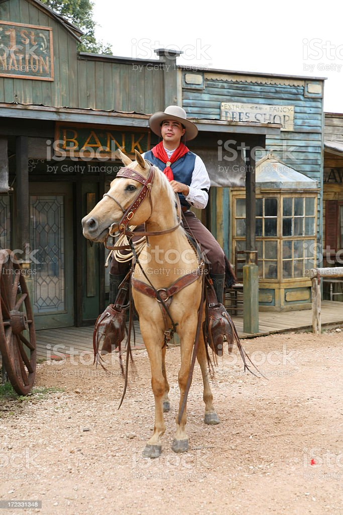 Cowboy on horse royalty-free stock photo
