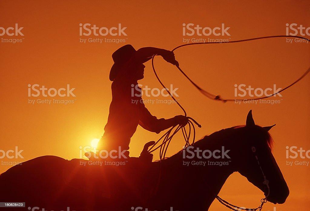 Cowboy on horseback with lasso at sunset stock photo