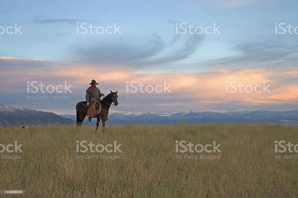 Cowboy on ridge,see my portfolio for others in series. stock photo