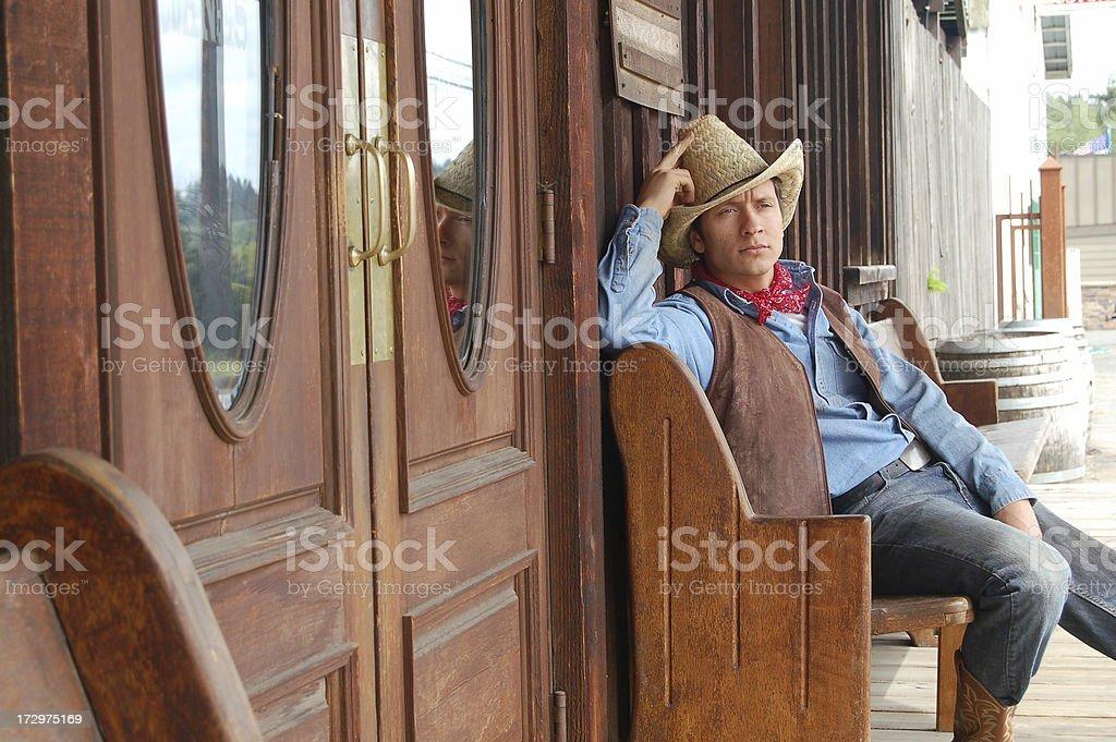 Cowboy Pondering stock photo