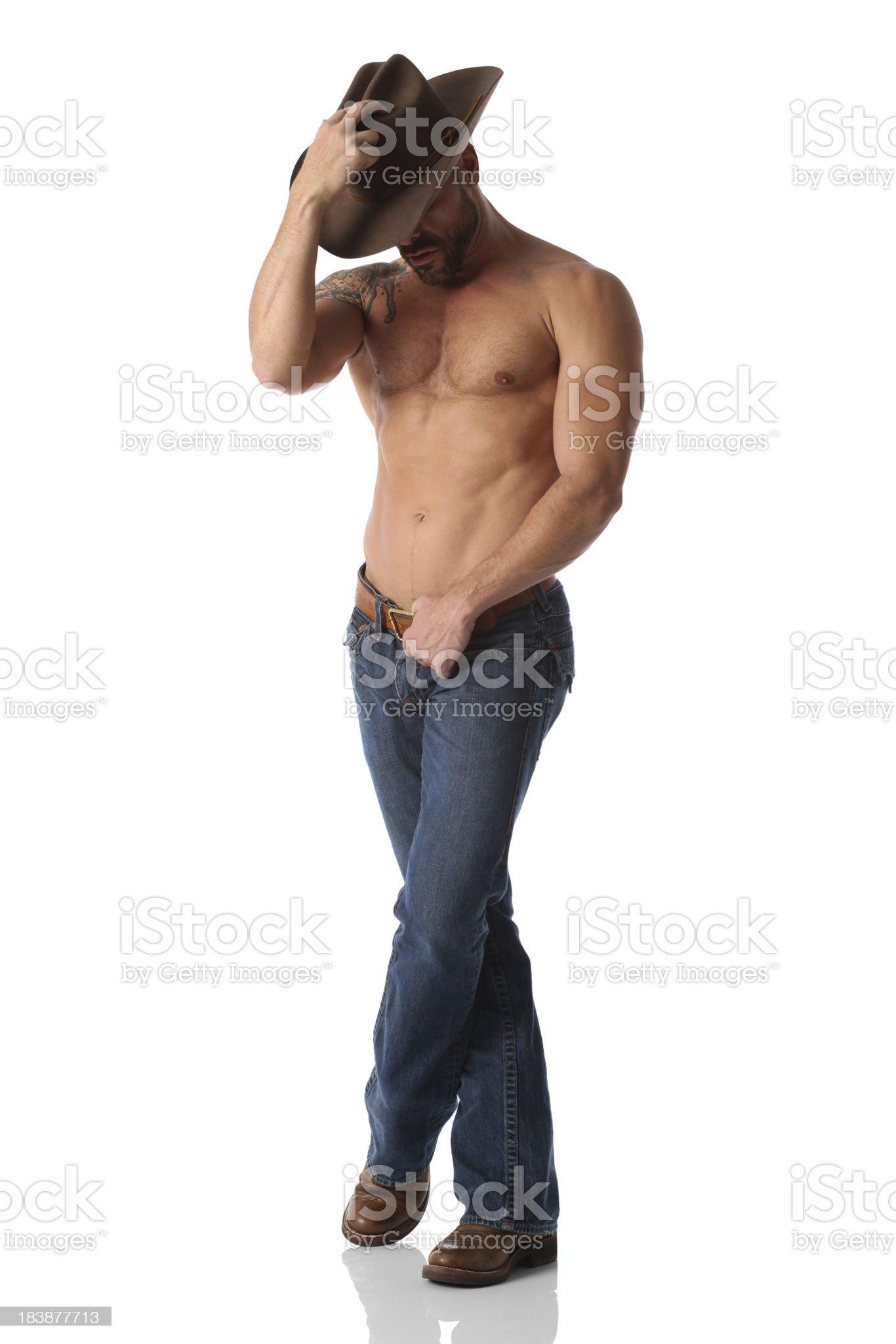 Cowboy posing royalty-free stock photo