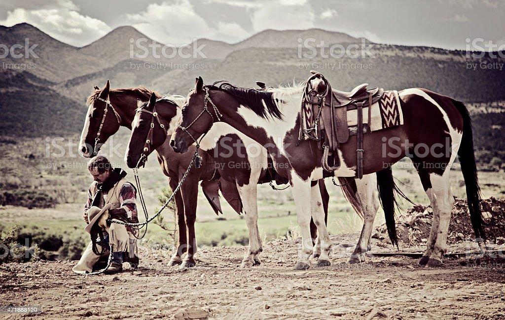 cowboy prayer stock photo
