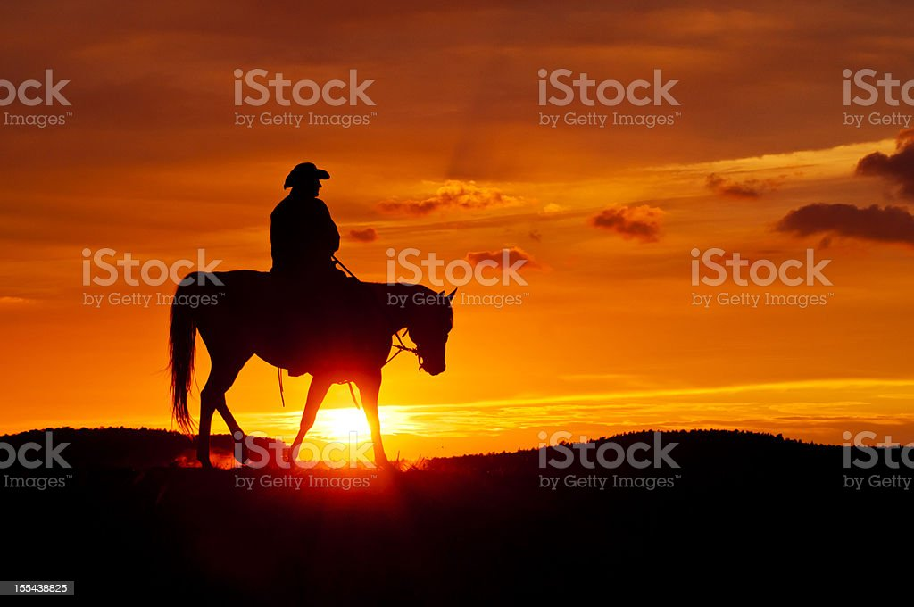 Cowboy rides during the sunset stock photo
