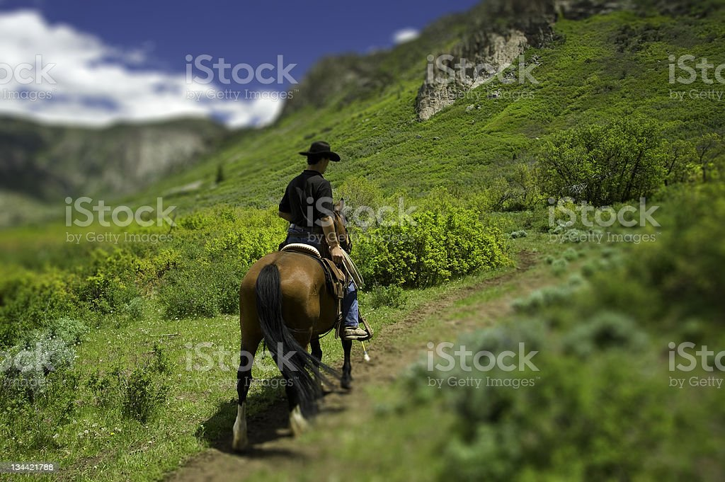 Cowboy Riding a Trail on Horse with Mountains Tilt Shift stock photo
