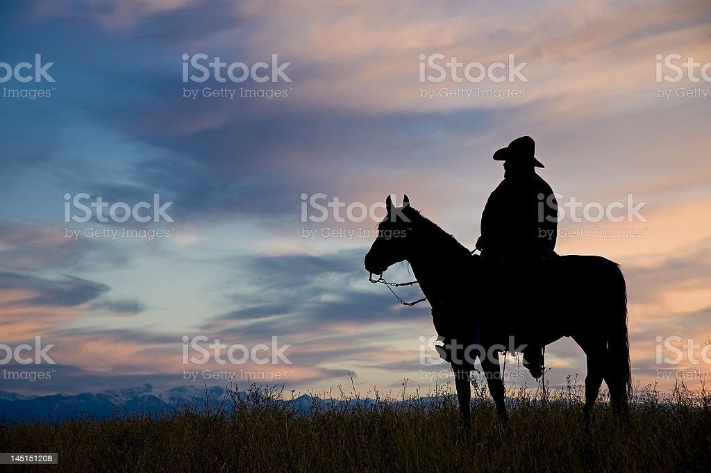 Cowboy silhouette(see others in my portfolio/lightbox) stock photo