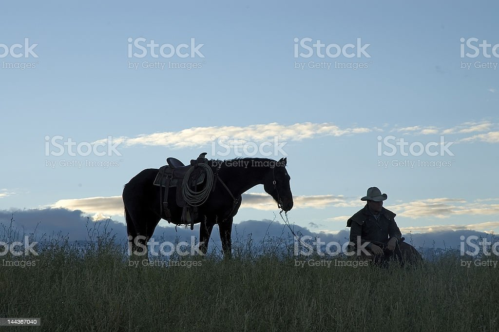 Cowboy silhouette,see my portfolio/lightbox for others in series stock photo