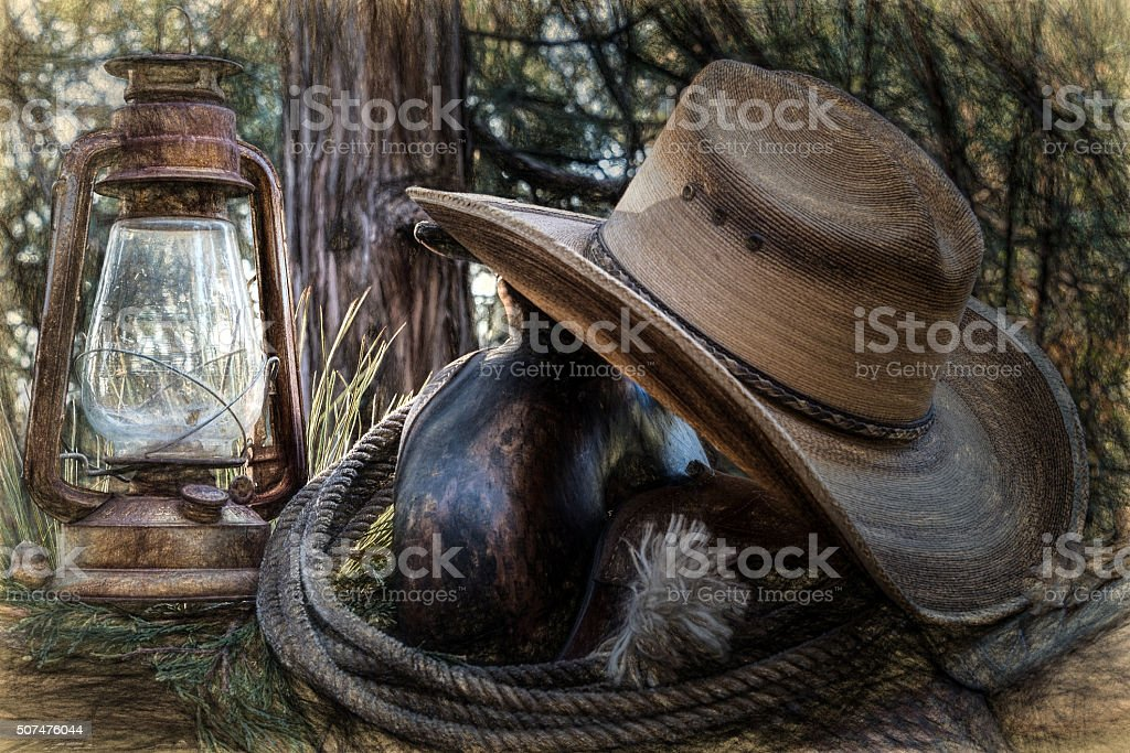 Cowboy Sundown stock photo