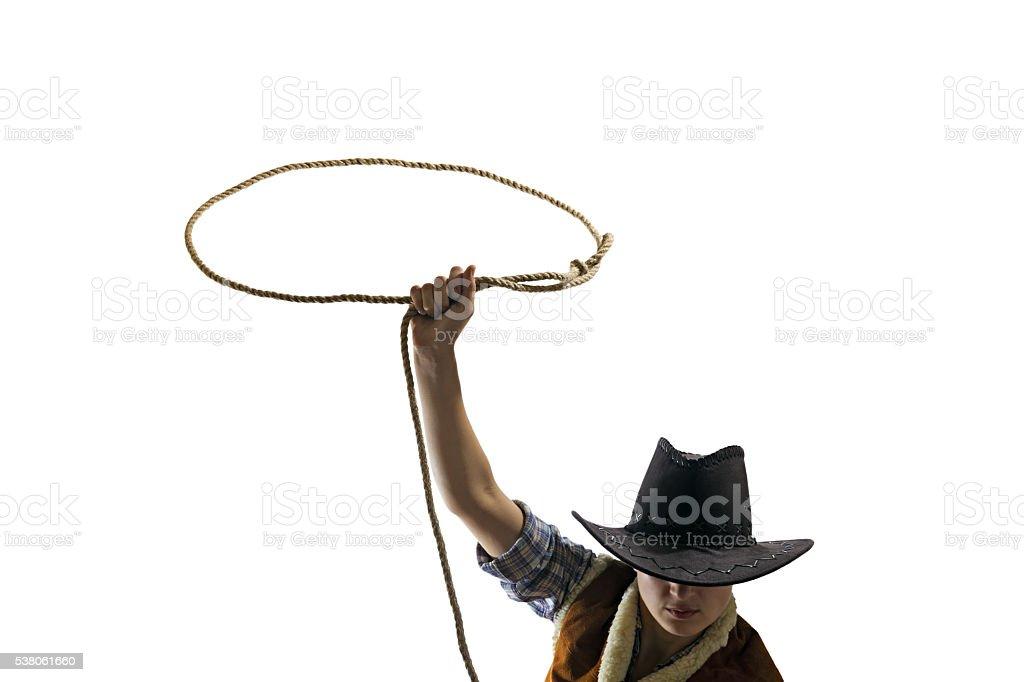 cowboy throws a lasso stock photo