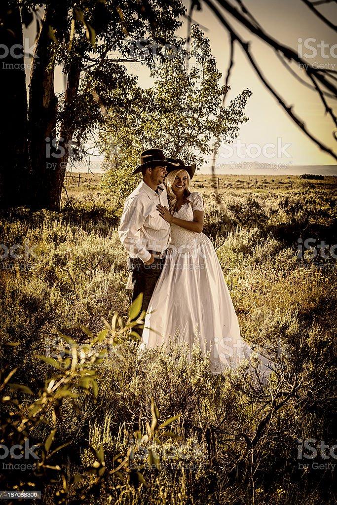 Cowboy Wedding stock photo