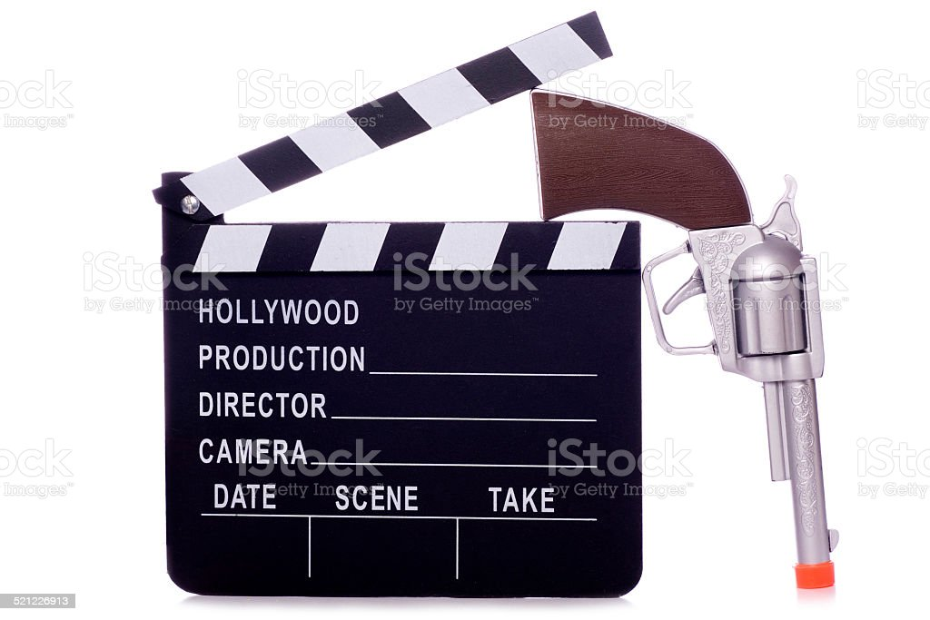 Cowboy western movie clapper board cutout stock photo